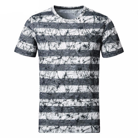 2017 New Men T Shirt Summer Fashion O-Neck Short-Sleeved Slim Fit striped 3D T-Shirt Man Casual 5XL-Beautify Sweden