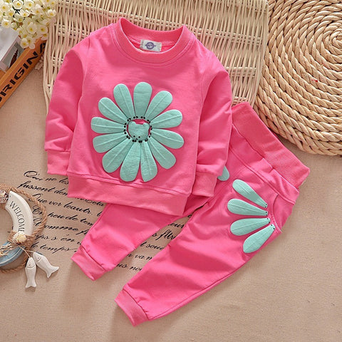 2017 spring autumn children girl clothing set baby girls sports sunflower costume kids clothing set-Beautify Sweden