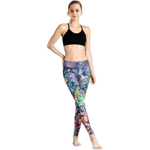 2017 Women Coral Fish Pattern Running Leggings Quick Dry Sportswear High Waist Gym Training Yoga-Beautify Sweden