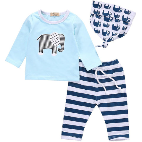 3 pcs suit baby boy clothes newborn Baby Boy Girl Kids Elephant Romper + Striped pant +hat-Beautify Sweden