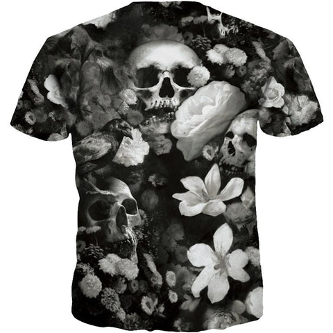 3d T-shirt Print White Flowers Skulls Hip Hop Tshirts Rock Quick Dry Summer Tops Tees-Beautify Sweden