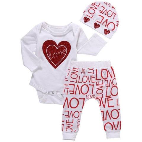 3pcs Newborn Clothing Toddler Baby Girl Clothing Set Love Print Romper Pants Cotton - 15% of the price will be donated to Unicef-Beautify Sweden