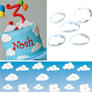 5 pcs Fondant cutter cloud plastic cake/cookie/biscuit cutter mold fondant-Beautify Sweden