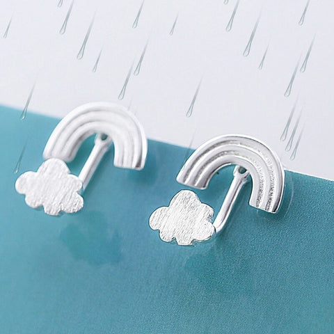 925 sterling silver earrings clouds and rainbow-Beautify Sweden