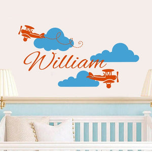 Airplane Wall Decal Vinyl Sticker Personalized Custom Name Clouds Decals Plane Kids Baby Nursery-Beautify Sweden