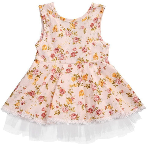 Baby Girl Floral Dress Toddler Girls Summer Baby Clothing Sleeveless Baby Dress Sundress-Beautify Sweden