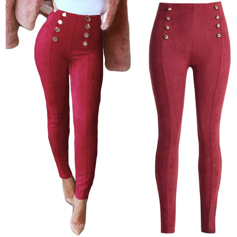 Faux Suede Women High Waist Elastic Stretch Slim Woman Pencil Pants-Beautify Sweden
