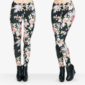 Full Length 3D Graphic Full Print Fresh Flowers Leggings Sexy Fitness Punk Leggings Pants Workout-Beautify Sweden