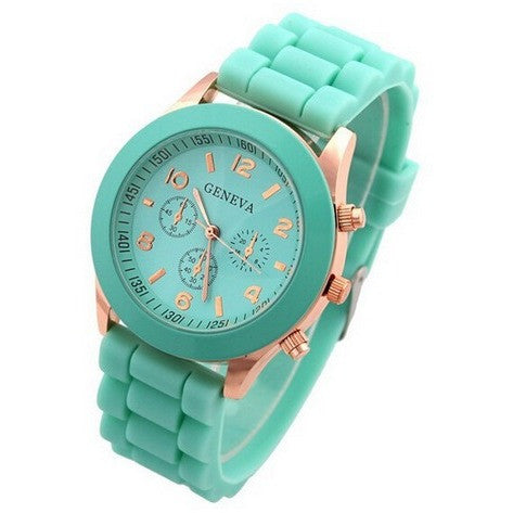 Geneva Candy-colored Silicone Strap Watches Women Ladies Dress Jelly Quartz Wrist Watch-Beautify Sweden
