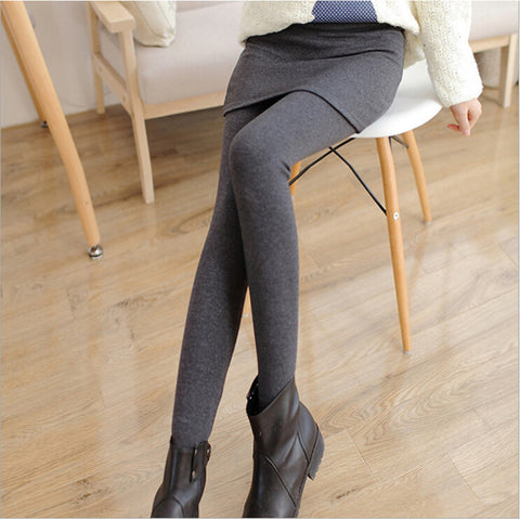 Grey Black False Two-piece Legging Pantskirt Women's Fashion Leggings With Mini Skirts-Beautify Sweden