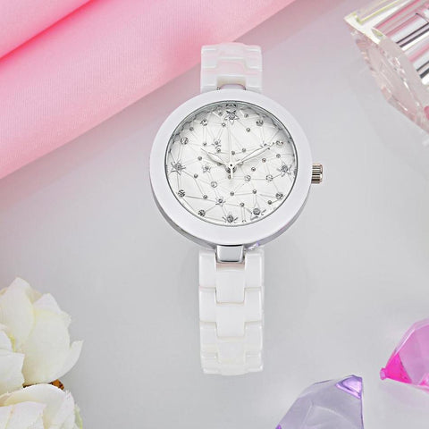 KEZZI 30m Life Waterproof Real Ceramic Strap Rivets Diamonds Astronomy Satellite Female Wrist watches-Beautify Sweden