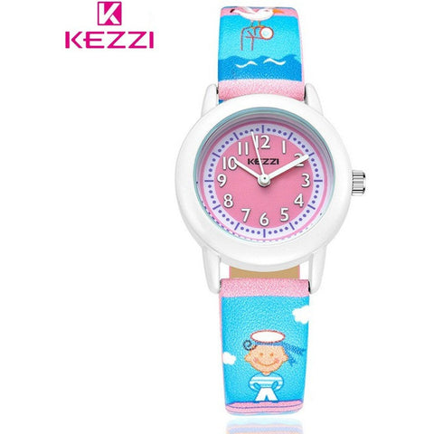 KEZZI New Children Cartoon Sea Style Quartz Student Watch Boy Girl Cute Fashion Leisure Leather Wristwatch-Beautify Sweden
