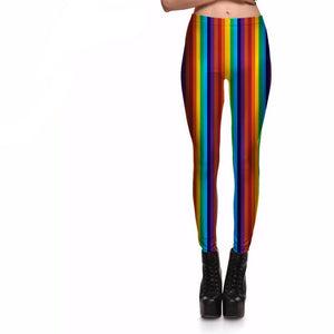 Leggings Women's Rainbow Vivid Vertical Stripes Plus Size-Beautify Sweden