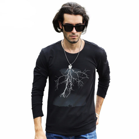 Lightning Printed T-Shirt Men Black T Shirt Mens Fashion T Shirts Casual Clothing Cotton 3D Tshirt-Beautify Sweden