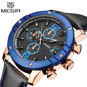 Luxury Brand Leather Band Military Chronograph Quartz Watch Men Sports Wristwatch Blue Dial Clock-Beautify Sweden