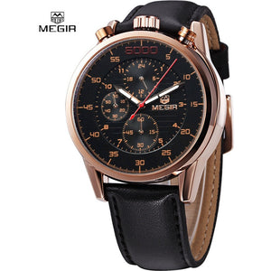 MEGIR brand design army business calendar leather men luxury wrist watch-Beautify Sweden