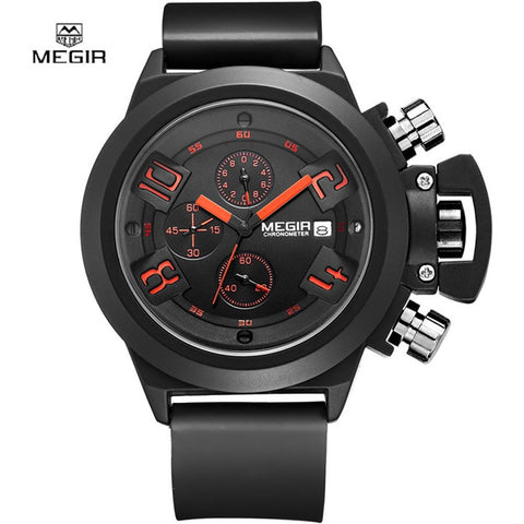 MEGIR Elegant Classic Black Men's Watch Classical Art Carved Craft Design Precision Time Chronograph-Beautify Sweden