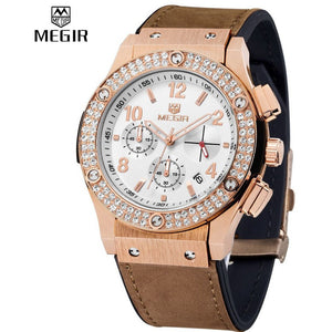 MEGIR Luxury Brand Design Ladies Watch Women leather and silicone strap rhinestone-Beautify Sweden
