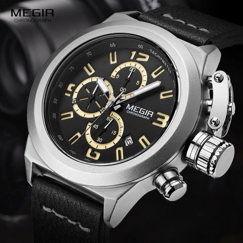 MEGIR Men Chronograph Luminous Hands Calendar Date Black Leather-Beautify Sweden