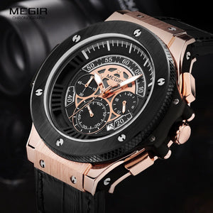 Megir Mens Chronograph Luminous Leather Strap Quartz Wristwatches-Beautify Sweden