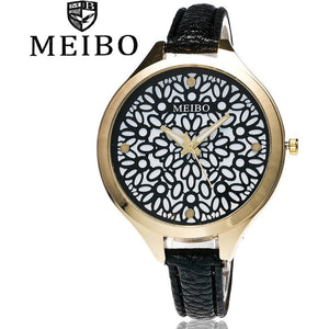 MEIBO Brand Fashion Women Hollow Flower Wristwatch Luxury Leather Strap Quartz Watch-Beautify Sweden