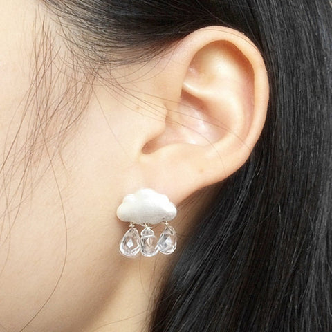 New Fashion accessories jewelry Cloud water drop crystal pearl dangle earring-Beautify Sweden