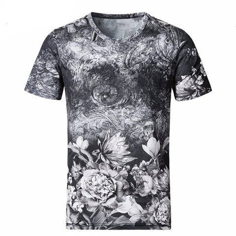 New Men T Shirt 2017 Summer Fashion O-Neck Short-Sleeved Slim Fit 3D Floral T-Shirt-Beautify Sweden