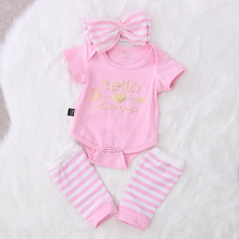 New spring/autumn baby girl clothes set Baby Girl Romper 3pcs Outfits Set Clothes 0-18M-Beautify Sweden