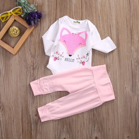 Newborn Baby Girl Cotton Clothes Outfit Cartoon Animals Printed Long Sleeve Romper Top+Pink Pant-Beautify Sweden