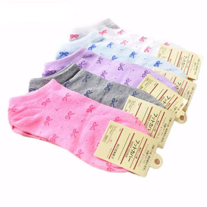 News Design 5 pairs Of Women Girls' Bowknot Ankle Low Cut Cotton Socks Random Color-Beautify Sweden