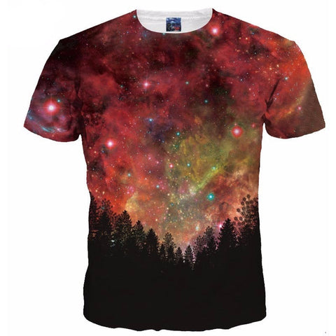 News Fashion Men/ Women 3d T-shirt Summer Tops Tees Digital Print Night Trees Space Galaxy-Beautify Sweden