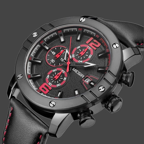 News MEGIR Watches Men Top Brand Luxury Leather Military Chronograph Quartz-Watch Back Light Clock-Beautify Sweden