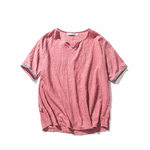 Original Loose Linen Men T-shirt Short Sleeve T shirt Men's 2017 Summer T-shirts Vintage Tee Tops Large Size M-5XL-Beautify Sweden