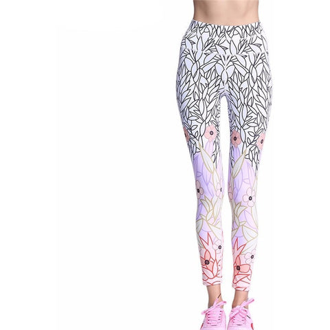 Printed Yoga Pants Quick-Drying Nine-point Tight High Elastic Pants Fitness Gym Running-Beautify Sweden