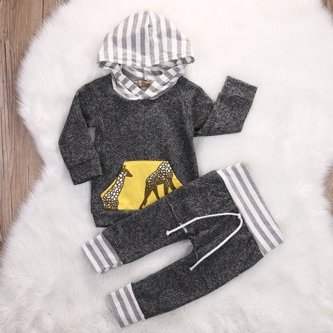 Spring Autumn 2017 Kids Clothes Baby Boys Girls Tracksuit Long Sleeve Pullover T-shirt Tops+Pants-Beautify Sweden