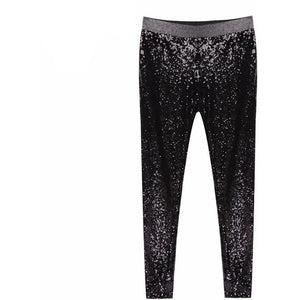 Stretchable Sparkle Metallic Full Sequined Pants Slim Skinny Pencil Pants-Beautify Sweden