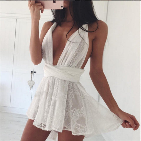Summer Playsuit White Lace Strap V-neck Sleeveless One Piece-Beautify Sweden