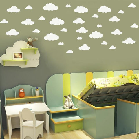 Wall Stickers 31pcs / set DIY Large Clouds 4-10 Inch Wall Sticker Removable Vinyl Wall Decals-Beautify Sweden
