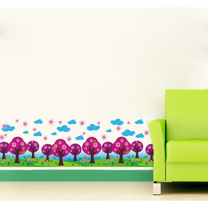 Warm Romantic DIY Removable Flowers Trees Skirting Line Wall Stickers Wall Decal-Beautify Sweden