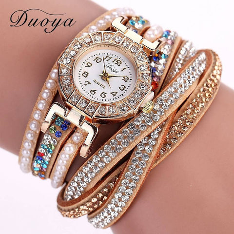 Watch Women Pearl Quartz Wristwatch Crystal Diamond Clock Women Bracelet Watch-Beautify Sweden