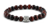 Pravano - Slim Line Red Tiger Eye Silver Tabono Men's Bracelet