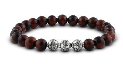 Pravano - Slim Line Red Tiger Eye Silver Trio Men's Bracelet