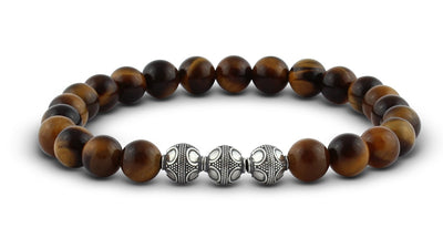 Pravano - Slim Line Tiger Eye Silver Trio Men's Bracelet