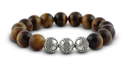 Pravano - Grand Tiger Eye Silver Trio Men's Bracelet