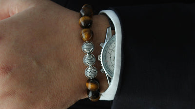 Grand Tiger Eye Silver Trio Bracelet