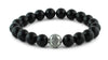 Polished Onyx and Silver Bracelet
