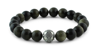 Golden Obsidian and Silver Bracelet