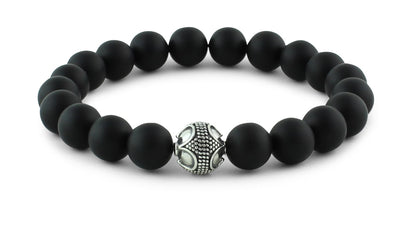 Matte Onyx and Silver Bracelet