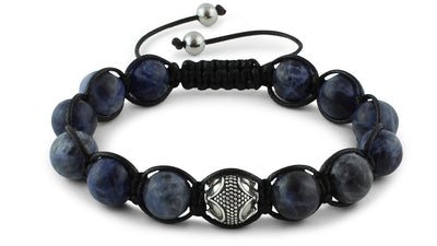 Sodalite and Silver Braided Macrame Bracelet