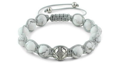 Howlite and Silver Braided Macrame Bracelet
